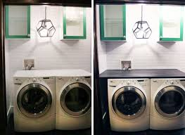 by extending the counter all the way to the wall on the left side of the washer and at the back of the washer and dryer we gained extra usable space for