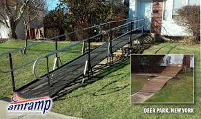 the amramp long island team replaced a dangerous rotting wooden wheelchair ramp with an amramp