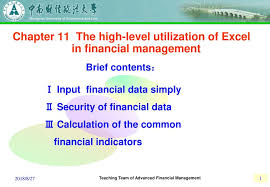 financial management excel chapter 11 the high level utilization of excel in financial