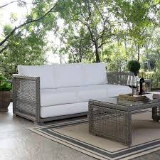 audrey outdoor patio wicker rattan sofa