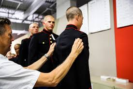 co e fitted for uniforms > marine corps recruit depot san diego hi res photo