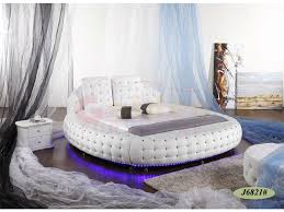 Luxury king size round bed sets bed frame with LED light 6821# on sale