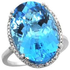 14k white gold natural swiss blue topaz ring large oval 18x13mm diamond halo sizes 5 10