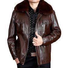 men brown leather er jacket with fur collar