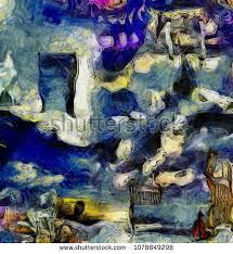 complex abstract painting open door to another world hourglass bed and violin open painting27 painting