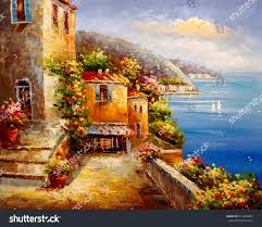 oil painting harbor view greece