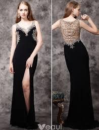 2016 <b>Luxury</b> Handmade <b>Beading</b> Deep V-neck Backless Black ...