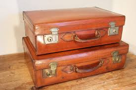 two matched vintage leather suitcases harrods of london 1 of 7
