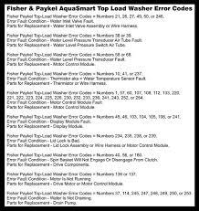 fisher paykel aquasmart top load washing machine error codes fisher paykel aquasmart washing machine error codes