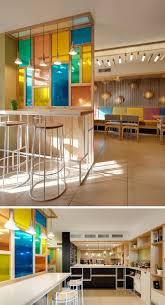 modern architectural interior design. Unique Architectural 6 The Colored Glass Paneled Wall In This Cafebakery Creates A Unique  Feature That Matches The Rest Of Decor And Modern Architectural Interior Design