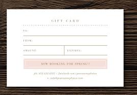 gift card template gift card template for photographers lily