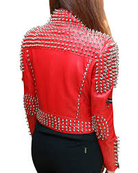 metal half studded rivet spikes faux leather women