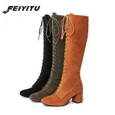 senarai harga feiyitu fashion female winter thigh high boots faux suede leather high heels women knee