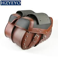 hzyeyo 2x faux leather rivet studded motorcycle saddle bags motorbike saddle bag tool black brown b816 large leather saddlebags leather bags for