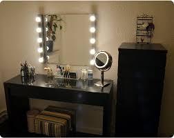 makeup vanity with lights ikea black tri folding oval mirror wood table set stool 7 drawers