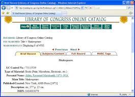 Библиографический поиск по каталогам библиотек Монета Электронный каталог библиотеки Конгресса США библиографическая карточка