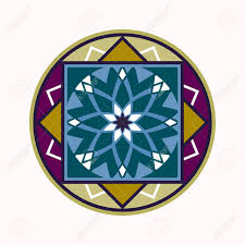 Mandala Tattoo Colored Icon Geometric Round Stylized Ornament Harmony Luck Infinity Symbol Turquoise Blue Violet White Colors Vector