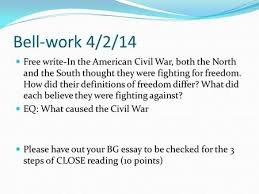 update notebooks causes of the civil war lgs spc pg  bell work 4 2 14 write in the american civil war