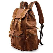 GEARONIC TM <b>Men</b> 21L Vintage Canvas <b>Backpack</b> Leather Laptop ...