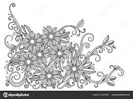 Floral Coloring Page Stock Vector Elinorka 218441688