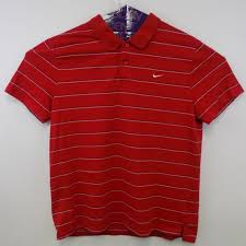 nike mens polo size xl striped casual red black white rugby shirt