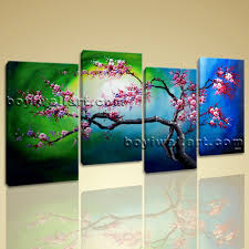 sunset cherry blossom tree abstract fl painting print on canvas framed bedroom wall decor