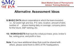 Stock Market Game of Pennsylvania Advisor Training Workshop STOCK ...