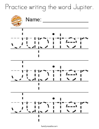 Small Picture Practice writing the word Jupiter Coloring Page Twisty Noodle