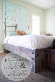 platform bed and old door headboard