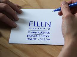 Original Ellen Foord How To Hand Letter An Envelope Blue Step 4