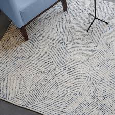 geometric modern plush wool denim area rug 5 x8 ivory blue white contemporary area rugs by my sy home