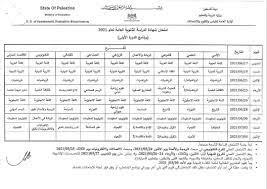 مدرسة شهداء النصيرات الثانوية للبنين - جدول امتحانات الثانوية العامة 2021
