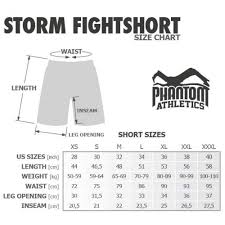 Cage Fighter Shorts Size Chart Mma Shorts Phantom Ringsport