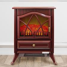 Freestanding Electric Fireplace Stove Heater in Red with Vintage Glass  Door, Realistic