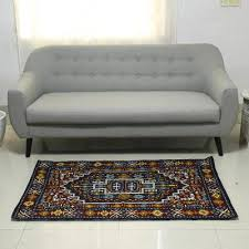 blue and burdy handcrafted chain stitch wool rug 3 x 5 blue mughal palace