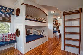 built in furniture. Simple Furniture Custom Bunkbeds With Nautical Motif And Built In Furniture