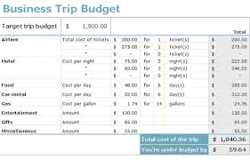 vacation budget planner business trip budget office templates