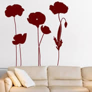 poppies field wall decals on poppy wall art stickers with flower wall decals floral wall stickers for your home or office
