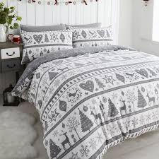 noel snowflake reindeer grey white quilt duvet cover set