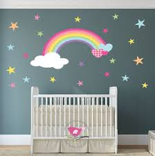 rainbow wall decal wall stickers nursery baby decor magical hearts and stars toddler girl gift spring march finds pink orange blue on stars nursery wall art with rainbow nursery wall decal heart cloud and star wall stickers baby