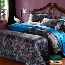 navy paisley bedding teal and black dark color western paisley park pop print bohemian chic cotton