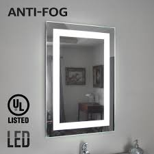 fogless led lighted makeup mirror ul listed wall mounted vanity silver mirror for bathroom spa shower polished edge 32 24 inner rectangle ring