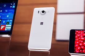 microsoft phone 2015. the microsoft lumia 950 sits on display at a media event for new products october 6, 2015. phone 2015