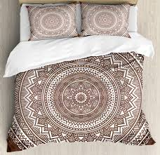 brown duvet cover set mandala pattern and ombre detailed round flower art with ethnic accents print decorative bedding set with pillow shams