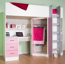 Photo 9 of 10 Calder High Sleeper Cabin Bed With Desk Wardrobe Drawers  Shelving Many Colours M2270 (beautiful White