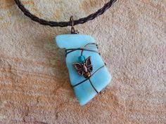 wire wrapped recycled glass pendant. Stained Glass Pendant, Wire Wrapped Handmade Eco Friendly, Recycled Jewelry, Light Blue, Butterfly Necklace, Unique Pendant N