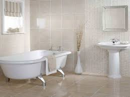 tiles for small bathrooms. Glossy Beige Tile Flooring Ideas For Small Bathrooms Using Antique White Clawfoot Tub And Pedestal Sink Tiles