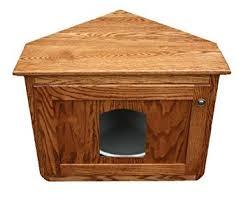 corner cat litter box furniture. Corner Hidden Cat Litter Enclosure Oak Wood Furniture, Wooden Kitty Box Furniture