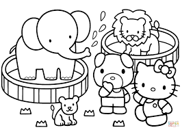 Small Picture Hello Kitty Zoo coloring page Free Printable Coloring Pages