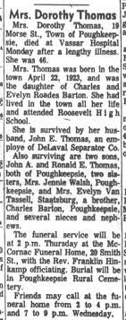 Dorothy Barton Thomas obituary Poughkeepsie Journal Tuesday, August 26,  1969 - Newspapers.com